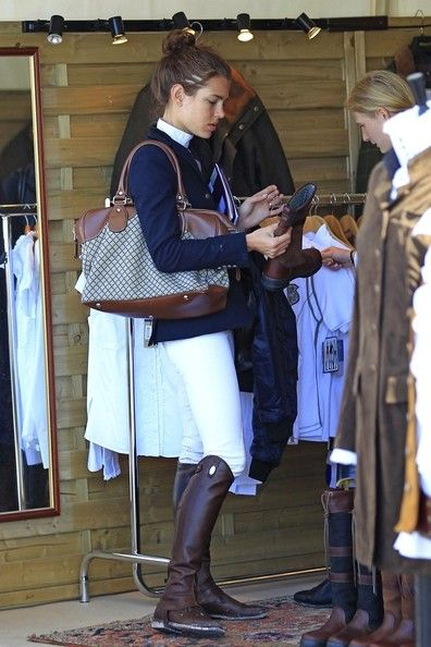 Charlotte Casiraghi choosing a pair of boots from the Dubarry stand at one of our French events.