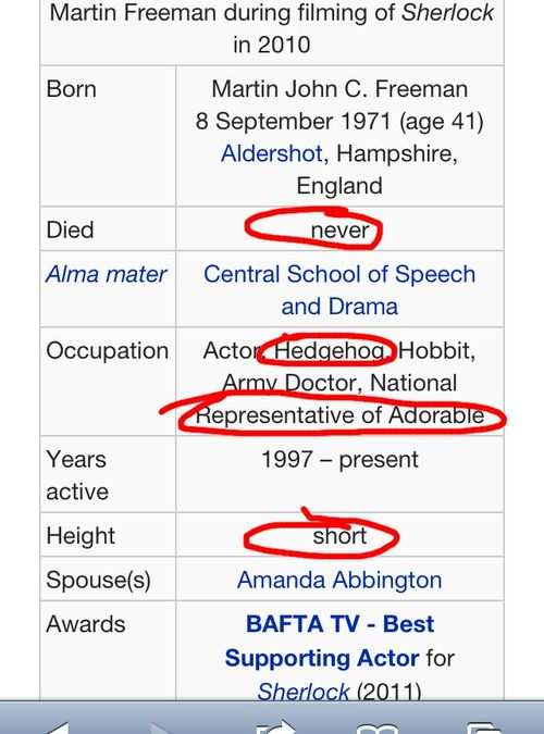 National representative of Adorable- Martin Freeman... ohmygosh... wikipedia, get it together! Height.... short. I LOVE IT!!