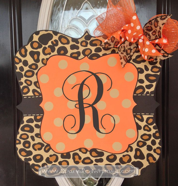 Fall Door Hanger: Monogrammed Leopard Print Sign by SparkledWhimsy on Etsy