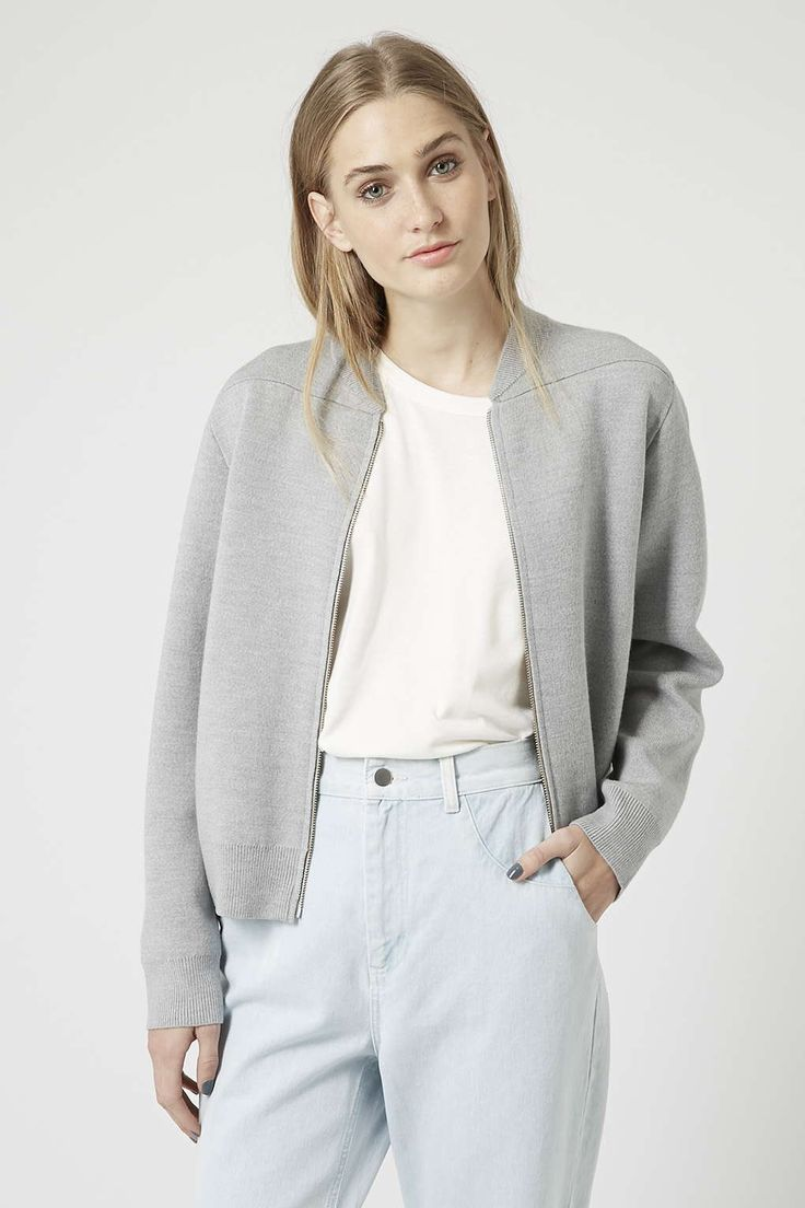 Merino Wool Knit Zip Bomber Jacket by Boutique i need this!