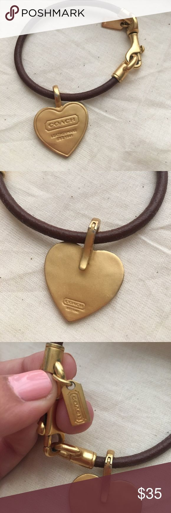 Brown Leather Coach Bracelet with Gold Heart Charm Timeless Coach Bracelet with removable heart charm. Authentic & Perfect condition! Perfect gift for any lady! Coach Jewelry Bracelets
