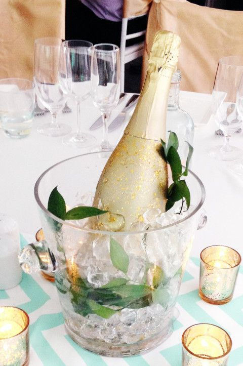 Champagne centerpiece | lark & linen