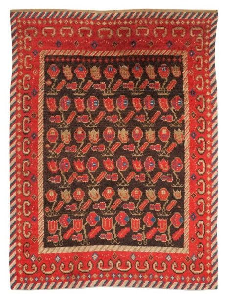 bed cover, knotted pile. 187 x 140 cm. Finland/Sweden first half of the 19th century. Bukowskis Classic Sale including carpets and textiles
