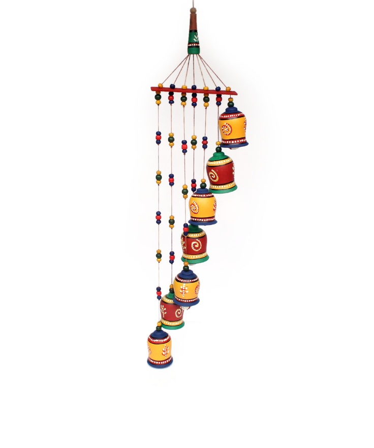 """BRAND: Sourcing India CATEGORY: Bell wall hanging COLOUR: Green, yellow and multi MATERIAL: Warli art terracotta DIMENSIONS: Diameter x Height- 7"""" x 30"""""""