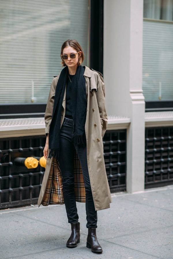 Classic Trench Coat Over Casual All, All Black Trench Coat Outfit