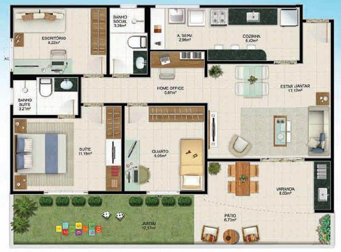 25 melhores ideias sobre plantas de casas gratis no for Casa moderna 7x20