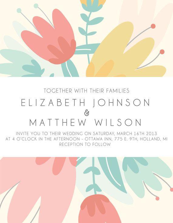 Wedding Invitation Design Ottawa. Spring Burst Custom Wedding Invitation by mylittlebuffalo on Etsy  45 00 216 best Strictly ideas images Pinterest Bridal