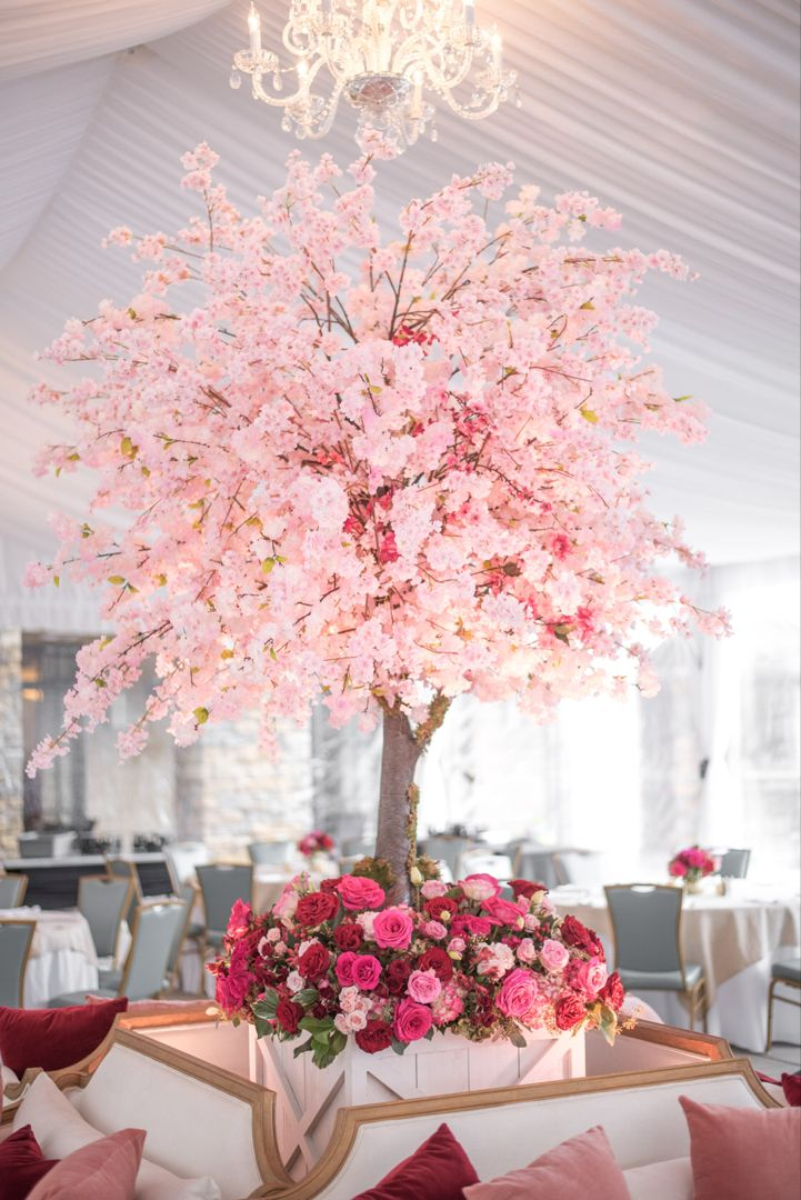 Flowers Under The Tent Cherry Blossom Wedding Theme Cherry Blossom Wedding Centerpieces Cherry Blossom Decor