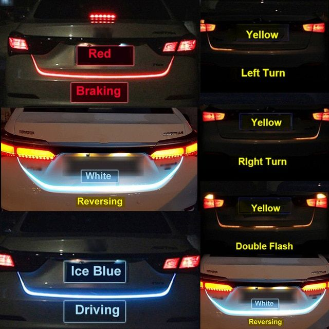 Ice Blue Red Yellow White Rear Trunk Tail Light Led Strip Lighting
