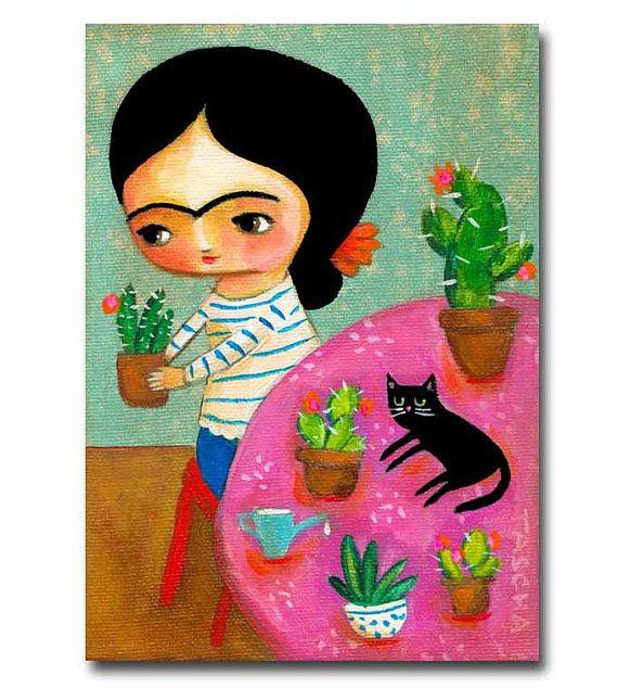 ORIGINAL painting FRIDA Kahlo with CACTUS and black cat folk art acrylic painting on canvas by tascha parkinson