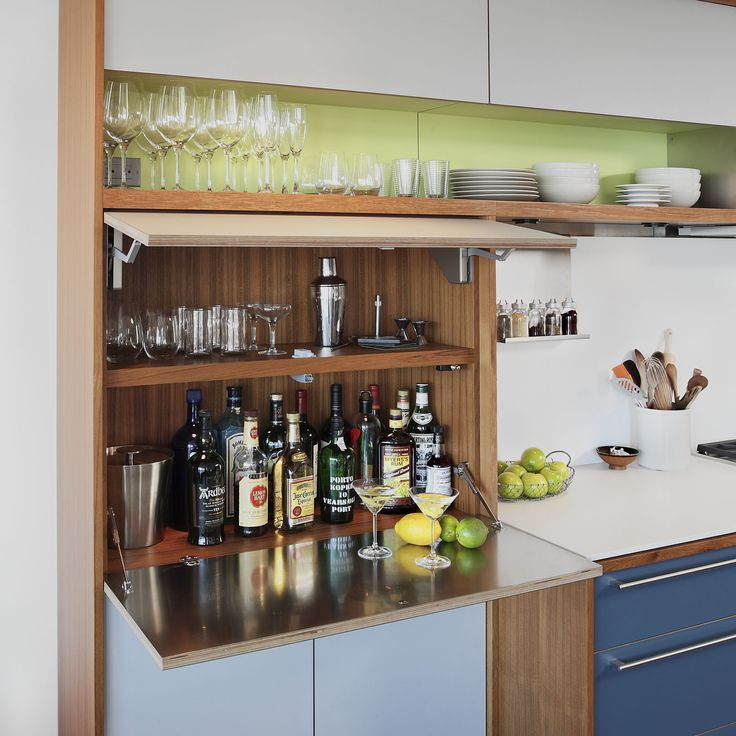 Modern Kitchen Cabinets Seattle: Kitchen Liquor Cabinet Fold Down Detail SHED Architecture