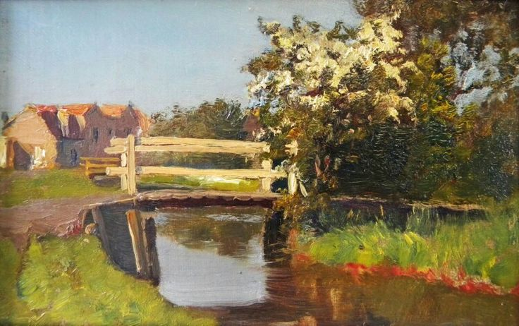 Ids Wiersma landschap met bruggetje ca. 1922