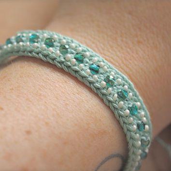 AQUA sea blue green friendship bracelet - crocheted with Czech glass beads - beaded bracelet