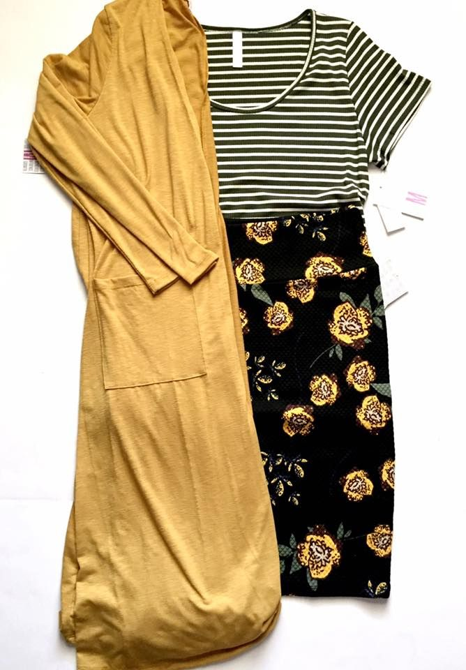 Lularoe Floral Cassie with striped Classic Tee and Solid Mustard Sarah Cardigan, size medium