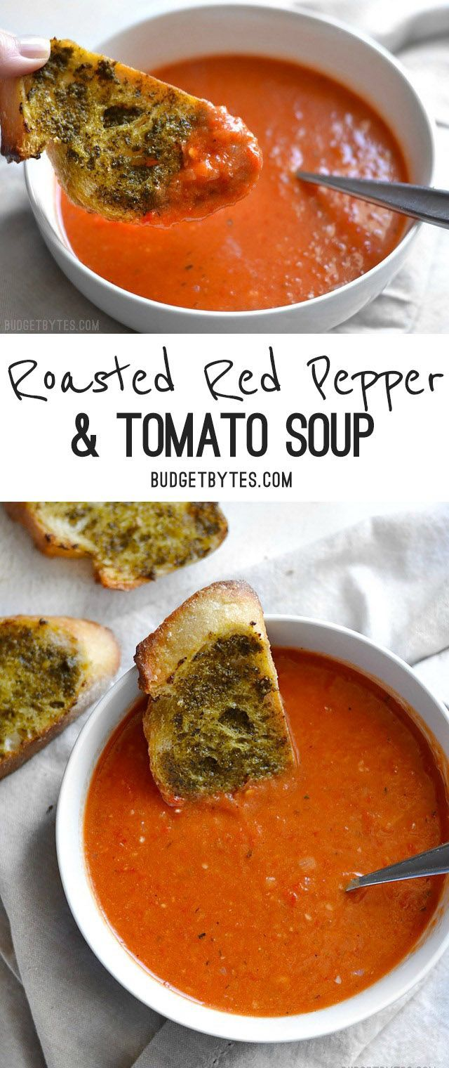Roasted Red Pepper and Tomato Soup is a fast and rich weeknight comfort food perfect for dipping crusty bread or grilled cheese. @budgetbytes