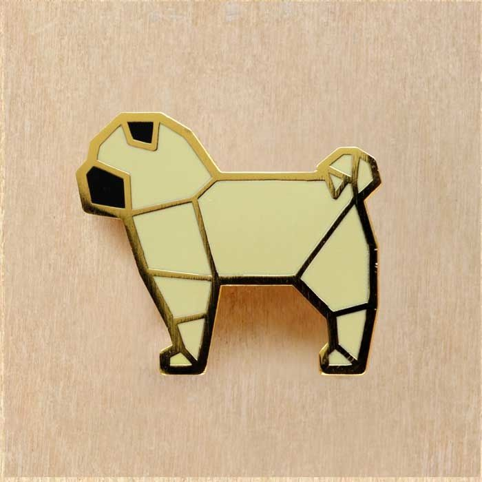 Image of Origami pins: Pug