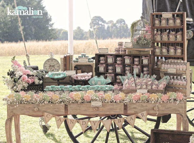 www.kamalion.com.mx - Mesa de Dulces / Candy Bar / Wedding / Boda / Rosa  Menta / Pink  Mint / Vintage / Rustic.