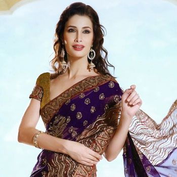 Beige and Purple Tissue and Faux Georgette Saree with Blouse