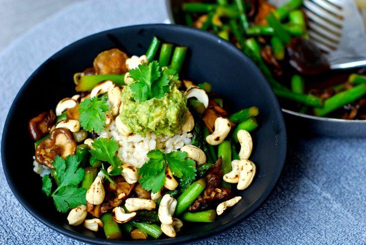 Shiitake Asparagus Stir Fry With Toasted Cashews and Wasabi Avocado Cream [Vegan, Gluten-Free]