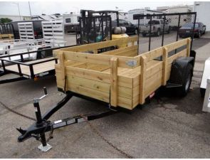 """5' x 10' 4 Board Side Utility Trailer. This Is a Nice 5' x 10' Utility Trailer with Rear Ramp Gate, 25"""" Tall Sides, and 4 Weld On D-Rings. $1,795 Any applicable fees and taxes are extra. Ref # 1024570 