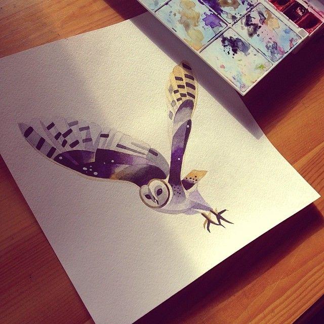http://www.noregretsstudios.co.uk/watercolour-like-tattoos-by-sasha-unisex/ Owl Tattoo By Sasha Unisex