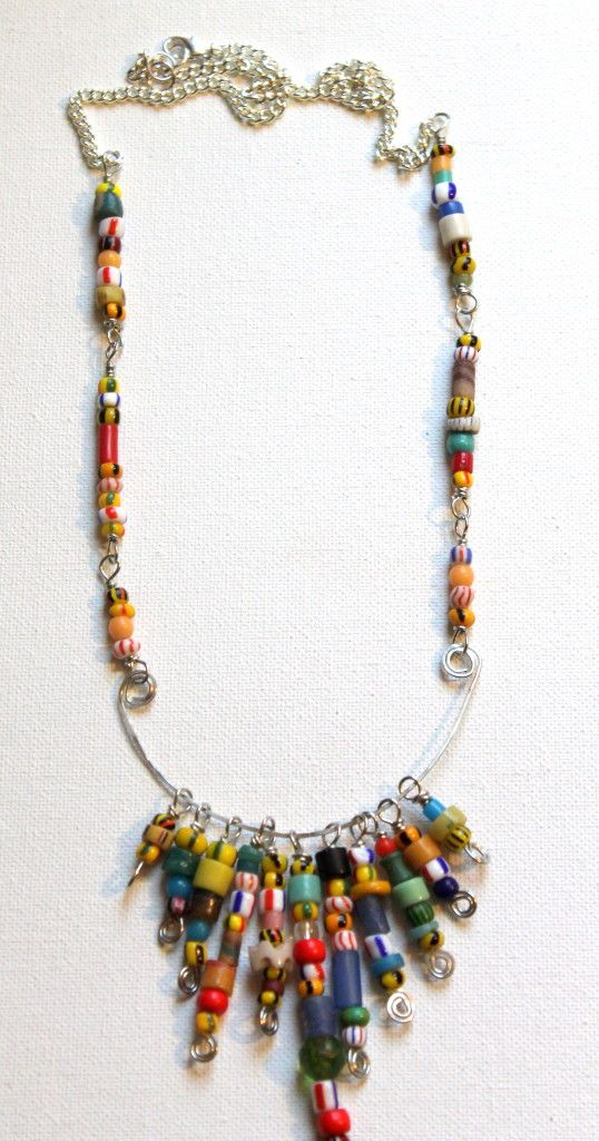 African Christmas Bead Wire Statement Necklace Tutorial with beads from Happy Mango Beads #jewelrytutorials @Ashley Yoon Mango Beads