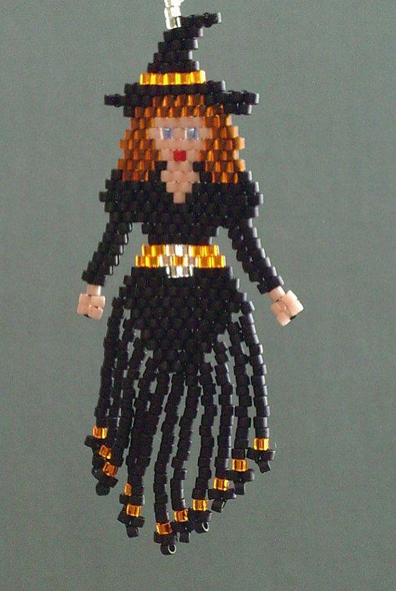 Pretty Witch Halloween Beaded Earrings by DsBeadedCrochetedEtc