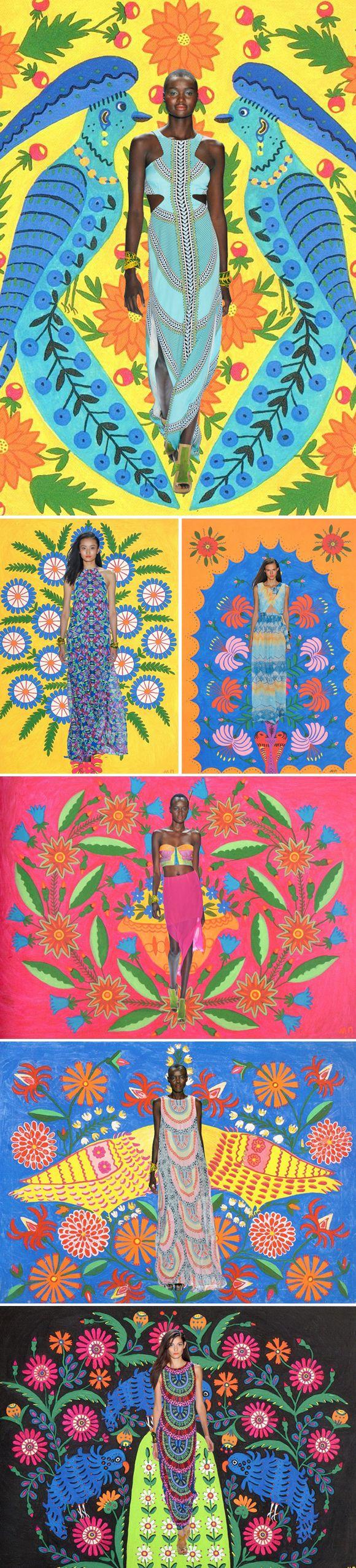 Um verdadeiro achado essa comparação de cores que a Diana, do Miss Moss fez para juntar a linda coleção de primavera 2013 de Mara Hoffman, em colagens com as ilustrações folks e lindas da ucraniana Maria Primachenko. Quando arte e moda andam juntas assim, enche nossos olhos de satisfação e o coração de alegria!