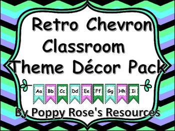 Are you getting your classroom ready? This cute retro chevron theme set is a teal, purple, black blue combination. This pack contains:Flag style word wall banners with  75 frequently used sight words,Table signs,Locker Tags,Calendar set (Months and dates with seasonal cards)Desk name plates (with number lines)Welcome bannerLeveled book bin tagsLeveled stickersSchool supply labelsIf you have a theme in mind I will gladly do custom orders.