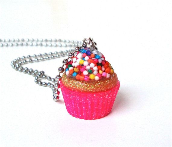 Hot pink cupcake pendant necklace - cupcake sprinkles pendant necklace - candy resin pendant - glitter resin jewelry by Sparkle City Jewelry...