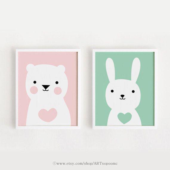 Imprimable pépinière Art Set de 2 chambre affiche ours lapin bébé art mural enfant chambre décor rose et menthe couleur fichier numérique, téléchargement immédiat
