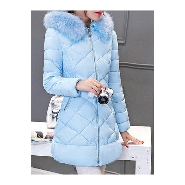Long Hooded Puffer Coat With Fur Trim ($53) ❤ liked on Polyvore featuring outerwear, coats, puffy coat, fur trim hooded coat, blue coat, hooded coat and long puffer coat