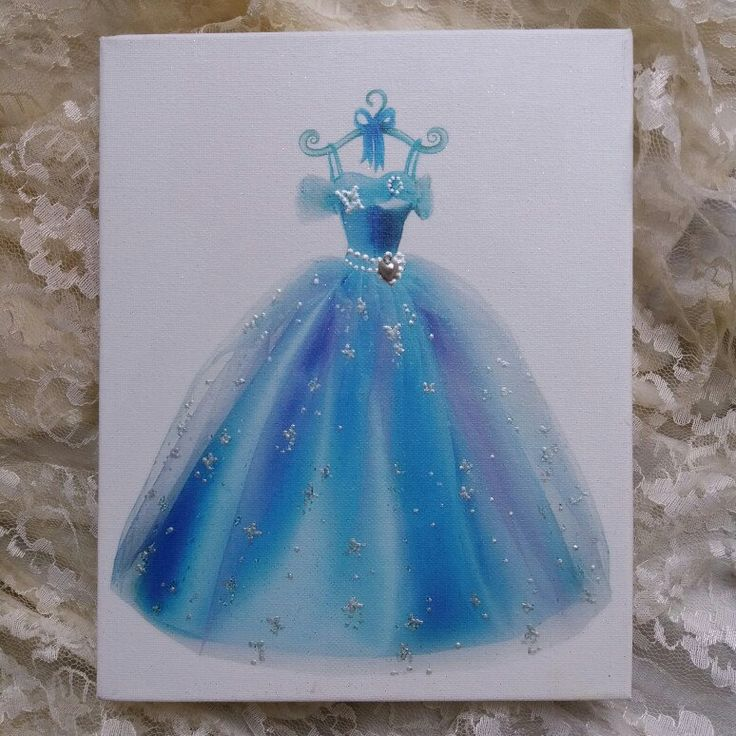 Princess Art on canvas ready to hang with rhinestones and fairydust by Errikos Art design