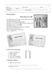 English worksheet: Countries and nationalities test