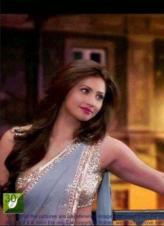 Daisy Shah Grey Net Designer Bollywood Saree http://www.angelnx.com/
