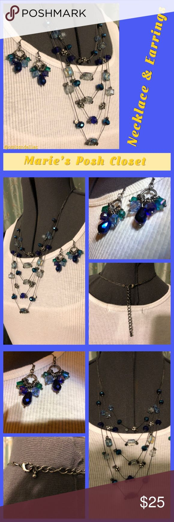 Blue Crystal Necklace and Earrings Bundle Gorgeous shades of blue and clear crystal on a five strand, antiqued, silver tone necklace with a similar set of dangle, hook earrings. Not a set but they look like they were meant to be. I've worn them together all the time. Jewelry