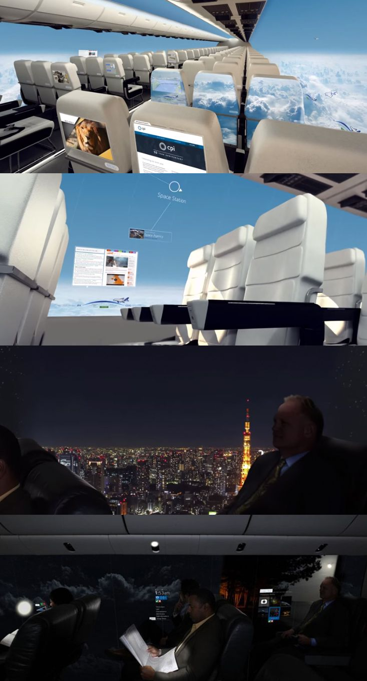 A windowless plane concept from UK-based tech innovation company Centre for Process Innovation (CPI).