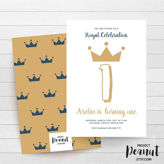 Royal Prince - Prince 1st Birthday - Boy 1st Birthday - Royal Celebration - Crown Prince - Prince Invitation - Royal Birthday - Prince Party The perfect invitation to throw the most elegant royal prince party!  PLEASE NOTE:  + You are purchasing a digital file only.  + NO PRINTED MATERIALS ARE INCLUDED!  + There are NO REFUNDS as this is a digital product.  + A reminder that this is a DIGITAL PRODUCT.  WHAT DO YOU GET? 4x6 inch digital printable invitation - with *bonus reverse side* (The…