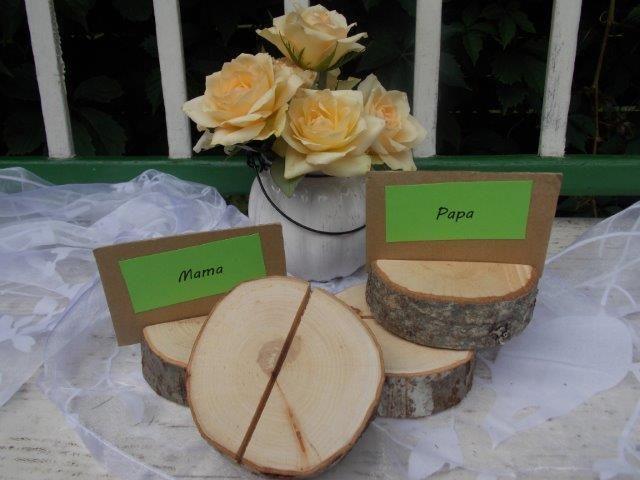Hochzeitsdeko - 5*Tischkartenhalter Holz für Hochzeit - Geburtstag - ein Designerstück von Allgaeu-Andi bei DaWanda