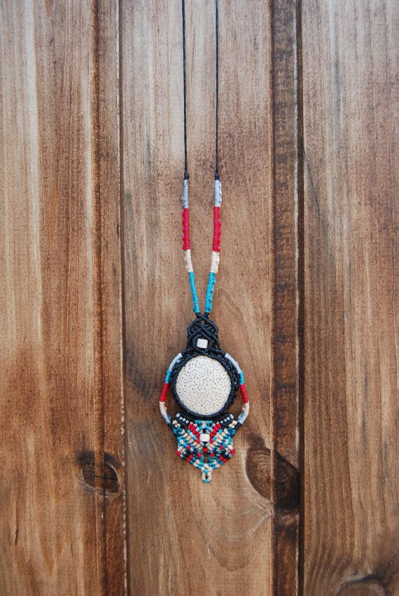 Tribal pendant with white lava stone and beads by MitosKnitwear