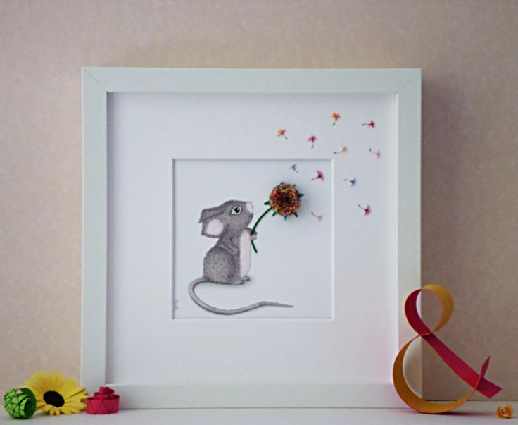 Baby Mouse with Dandelion, 3D Paper Art, Nursery Wall Art, Baby Shower Gift Idea, Children's Playroom Decor, Children's Illustration by QuillArtuk on Etsy