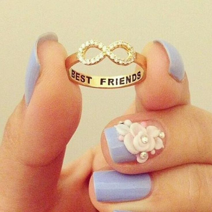 "Best Friends Crystal Infinity Ring, Engraved ""Best Friends"", Friendship Ring."