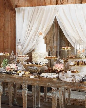 The Dessert Table - fabric on table - different levels of food