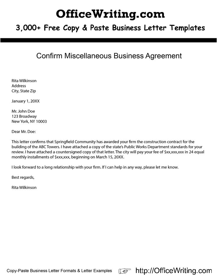 Confirm Miscellaneous Business Agreement -- We have over 3,000 - Letter Of Resignation Template Word Free