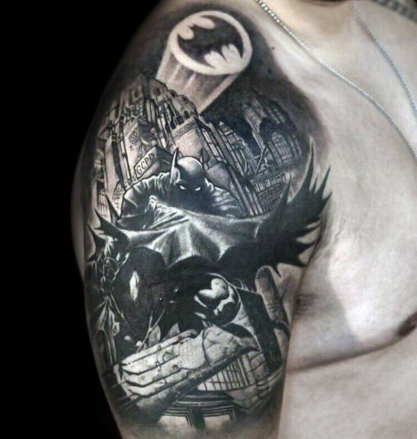 Cool Batman Themed Smybol Mens Half Sleeve Tattoos