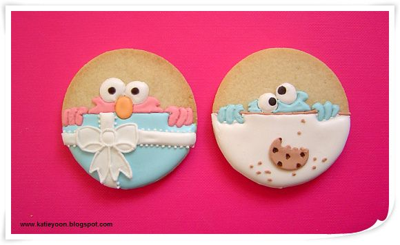 Elmo and Cookie Monster Cookies {by Katie's Something Sweet, via Flickr} --- ADORABLE!