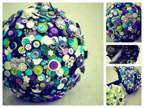 Gorgeous Purple, Green, Ivory and Teal Peacock Custom Button Brooch Bouquet DEPOSIT on Etsy, $149.99