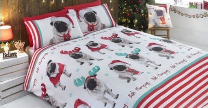 pug Christmas duvet set size double at www.ilovepugs.co.uk  post worldwide  King size also available & single