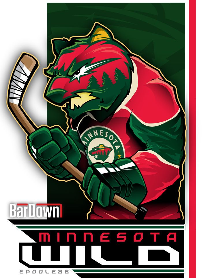 The Minnesota Wild, in all their red and green glory, as rendered by Eric Poole.  More of his work at http://epoole88.tumblr.com