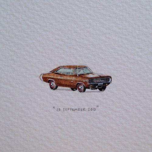 """Day 264 : """"ń Klein karretjie vir 'n groot dromer. Veels geluk liewe Arnold!"""" Van Liebe. 26 x 9 mm. #365paintingsforants #miniature #watercolour #1968 #dodge (at Shimla)"""